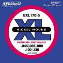 D'addario EXL170-5 muta per basso 5 corde 45-130