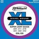 D'ADDARIO EXL120 MUTA CORDE PER CHITARRA ELETTRICA 6 CORDE SUPER LIGHT 9/42 NICKEL WOUND
