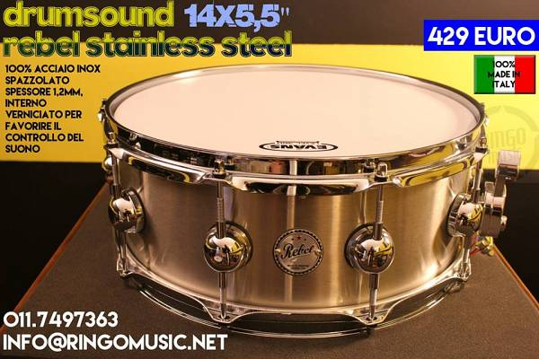 "DRUM SOUND REBEL 14x5,5"" STAINLESS STEEL! 100% MADE IN ITALY! TOP DI GAMMA!"