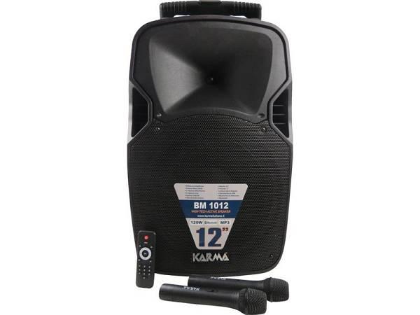 KARMA BM-1012 - CASSA AMPLIFICATA PORTATILE 120W RADIOMICROFONI FM MP3 USB BT