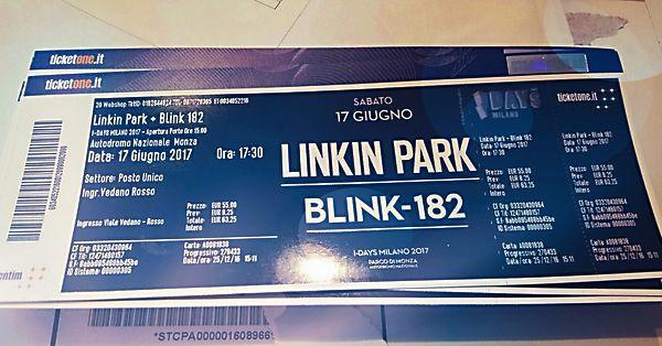 Biglietto singolo concerto Linkin Park & Blink 182 [rock modena 17/06/2017]