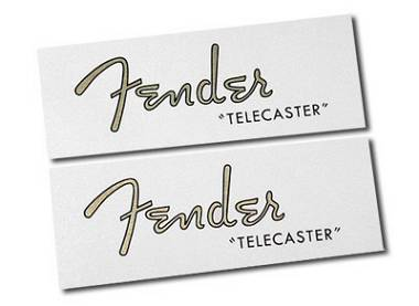 """2 DECALCOMANIA FENDER TELECASTER 1950 """"GOLD"""" DECAL WATERSLIDE"""
