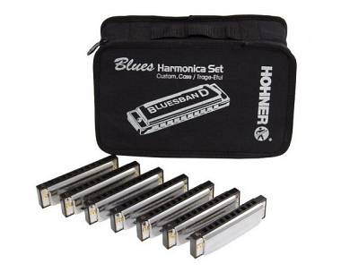 HOHNER SET 7 ARMONICHE BLUES CON BORSA SOL LA SIb DO RE MI FA