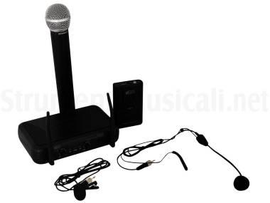 Sm Vh100dkit Dual Palmare + Archetto / Lavalier - Sistema Microfonico Wireless Vhf Con Palmare, Arch