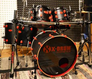 "X-Drum MONSTER ""BKS""Limited Ed in acero! 6 Pezzi+clamp reggitom. SOTTOCOSTO!"