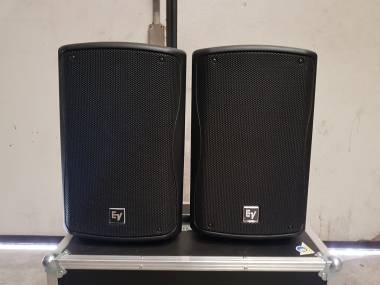 """ELECTROVOICE ZXA1 COPPIA CASSE ATTIVE 400W RMS WOOFER 8"""" + CASE BUNDLE USATE PERFETTO STATO"""