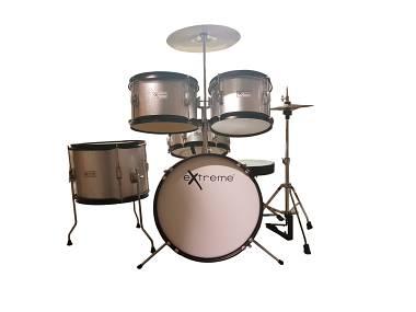 Extreme d j silver batteria acustica junior per bambini