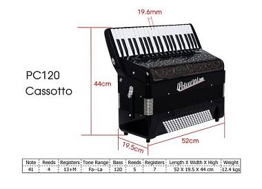 L. Polverini 1889 Fisarmonica Accordion Cassotto PC120 41/120