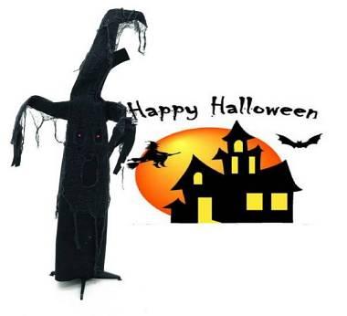 3 Halloween Albero fantasma si muove al rumore e genera effetti sonori +LED ludo