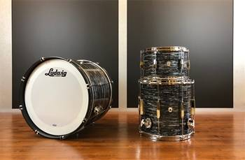 LUDWIG CLUB DATE DOWNBEAT VINTAGE BLACK OYSTER - BATTERIA ACUSTICA 3 PEZZI MADE IN USA