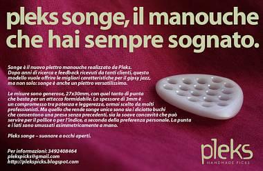 """PLEKS-PLETTRI PROFESSIONALI FATTI A MANO - MANOUCHE """"SONGE"""""""