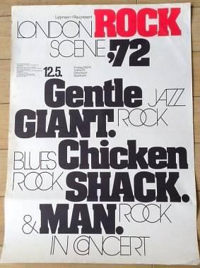 Manifesto originale Gentle Giant in Concerto il 12.5.1972 a Friburgo