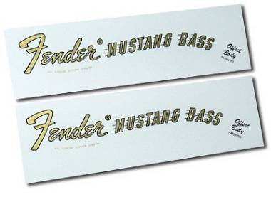 """2 DECALCOMANIA FENDER MUSTANG BASS """"GOLD"""" DECAL WATERSLIDE"""