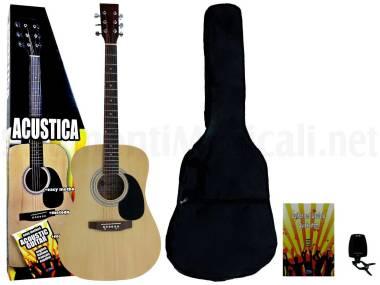 Chitarra Folk Pro Pack - Kit Chitarra Acustica Naturale Con Accessori