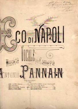 SPARTITO CANTO MUSICA NAPOLI AUTOGRAFI PANNAIN PLATANIA 800 IL DISINGANNO