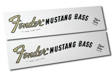 2 DECALCOMANIA FENDER MUSTANG BASS DECAL WATERSLIDE