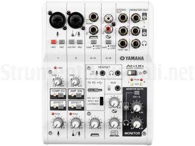 Yamaha Ag06 - Mixer Usb 6 Canali Con Interfaccia Audio Per Broadcasting / Podcasting
