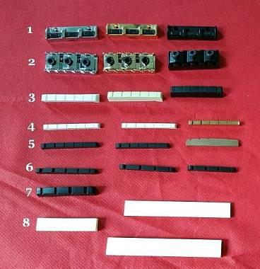 Capotasti: graphtec,ottone,osso, Ferrules, Abbassacorde, Boccole