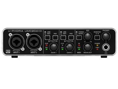 Behringer Umc204hd - Interfaccia Audio 2x4 Midi/usb 24 Bit/192 Khz Con Preamp Midas E Phantom +48v