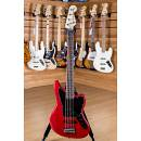 Squier (by Fender) Vintage Modified Jaguar Bass V Rosewood Fingerboard Crimson Red Transparent