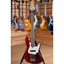 Lakland Skyline Series J-Sonic 5 Rosewood Fingerboard Candy Apple Red