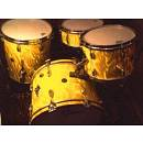 batteria gretsch round badge gold satin flame. anni '60