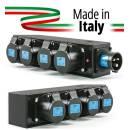 POWER-BOX NERO CIABATTA ALIMENTAZIONE PALCO MADE IN ITALY SPIA RETE INGRESSO SPINA 16A 3P+N+T USCITE