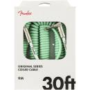 Fender Original Series Surf Green Coiled Cable 9m Angle & Straight Plugs