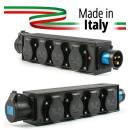 POWER-BOX NERO CIABATTA ALIMENTAZIONE PALCO MADE IN ITALY SPIA RETE INGRESSO SPINA 16A 3P 4-USCITE S