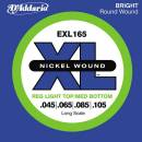 D'addario EXL165-4 LONG RED LIGHT XL NICKEL RW