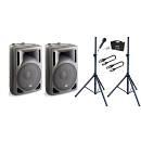 Impianto Audio DJ Karaoke / 1 Microfono / 2 Supporti / 2 Cavi XLR/XLR 5mt Bundle