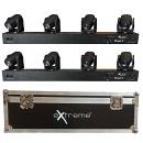 EXTREME QUAD BEAM 410 COPPIA BARRE 4 TESTE MOBILI LED RGBW 10W DMX + AUTO RUN + SOUND CONTROL + FLIG