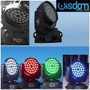 Coppia testa mobile wisdom wash led 36x12 18w Rgbw a uv flight case Powercon DMX
