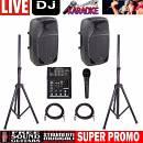 GO-SOUND 8A IMPIANTO AUDIO 400 watt per Karaoke Disco DJ COMPLETO CASSE MIXER