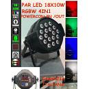 Par LED 18x10W RGBW 4IN1 FULL COLOR DMX alta qualità, ESTREMAMENTE LUMINOSI
