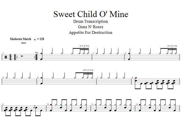 Drum drum tabs sweet child o mine : Drum : drum tabs sweet child o mine Drum Tabs Sweet Child along ...