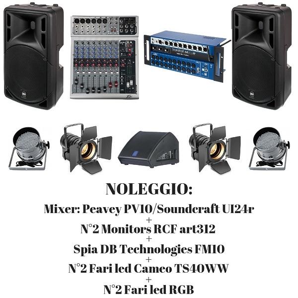 NOLEGGIO IMPIANTO AUDIO (PIACENZA): RCF ART 312A + PV10 + DB
